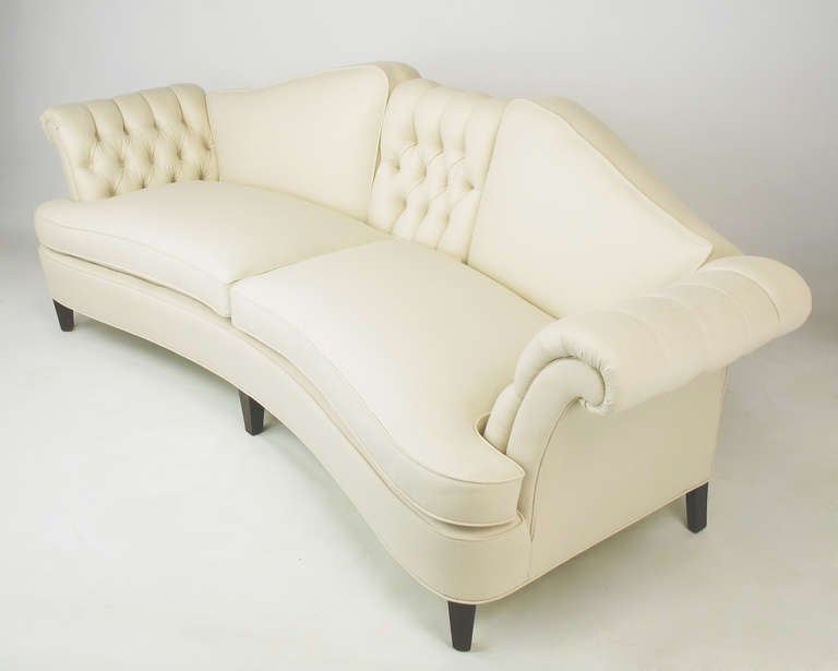 1940s Button Tufted Winter White Wool 102 Curved Sofa At