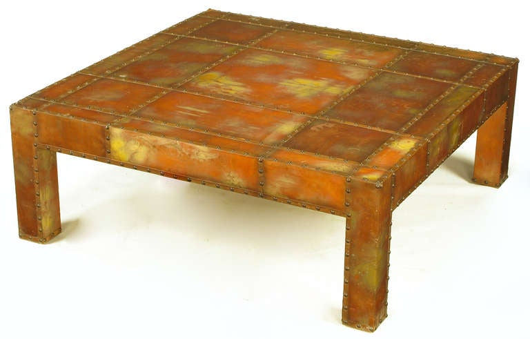 Studded and acid rinsed copper parsons style square coffee for Coffee table with studs