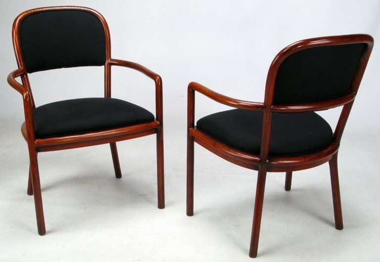 American Four Rare Ward Bennett Ash Bentwood Chairs For Sale