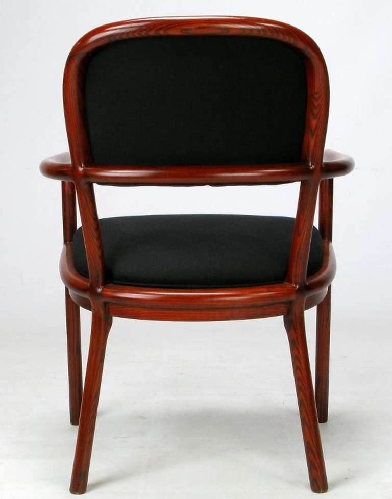 Upholstery Four Rare Ward Bennett Ash Bentwood Chairs For Sale