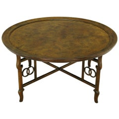 Michael Taylor Round Burl Walnut Coffee Table For Baker