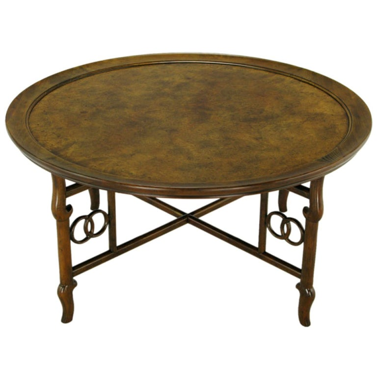 Michael taylor round burl walnut coffee table for baker at 1stdibs Baker coffee table