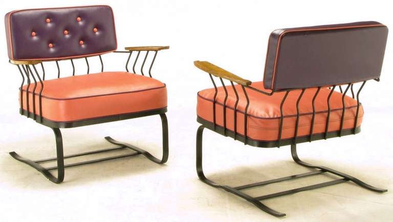 American Pair of Woodard Cantilevered Wrought Iron Lounge Chairs For Sale