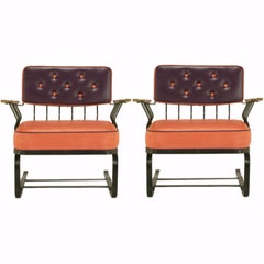 Pair of Woodard Cantilevered Wrought Iron Lounge Chairs