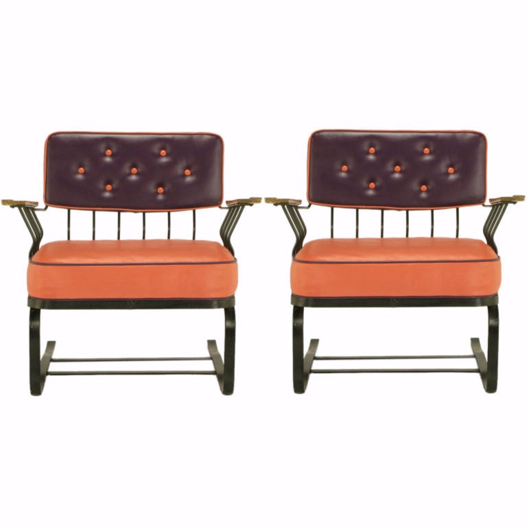Pair of Woodard Cantilevered Wrought Iron Lounge Chairs For Sale