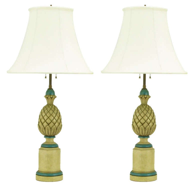 Pair of 1940s Cream and Blue Gesso Pineapple Table Lamps For Sale