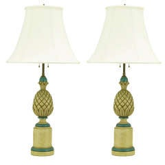 Pair of 1940s Cream and Blue Gesso Pineapple Table Lamps