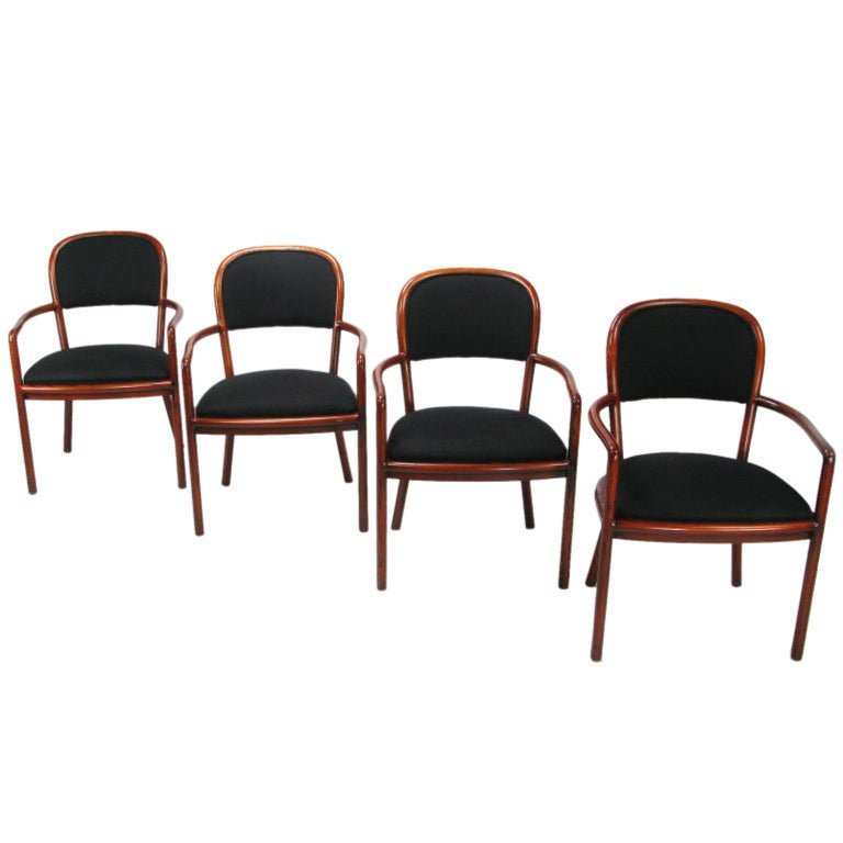 Four Rare Ward Bennett Ash Bentwood Chairs For Sale