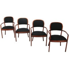 Four Rare Ward Bennett Ash Bentwood Chairs