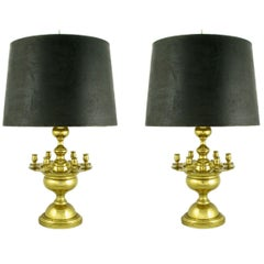 Pair of Heavy Brass Regency Table Lamps with Candelabra