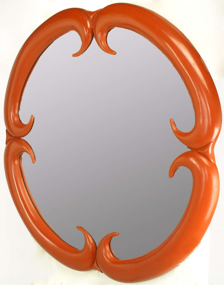 American Baker Furniture Cinnabar Red Quatrefoil Mirror For Sale