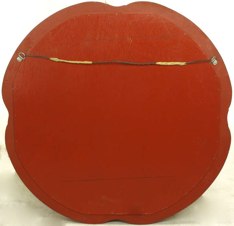 Late 20th Century Baker Furniture Cinnabar Red Quatrefoil Mirror For Sale