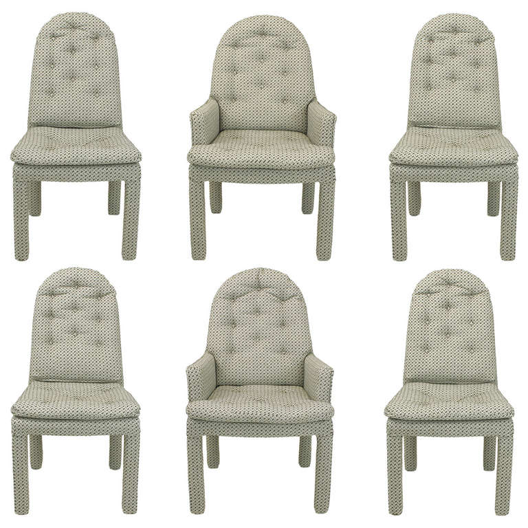 Six Fully Upholstered Arch Back Dining Chairs Attributed To Milo Baughman For Sale At 1stdibs