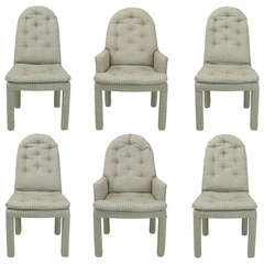 Six Fully Upholstered Arch Back Dining Chairs Attributed to Milo Baughman