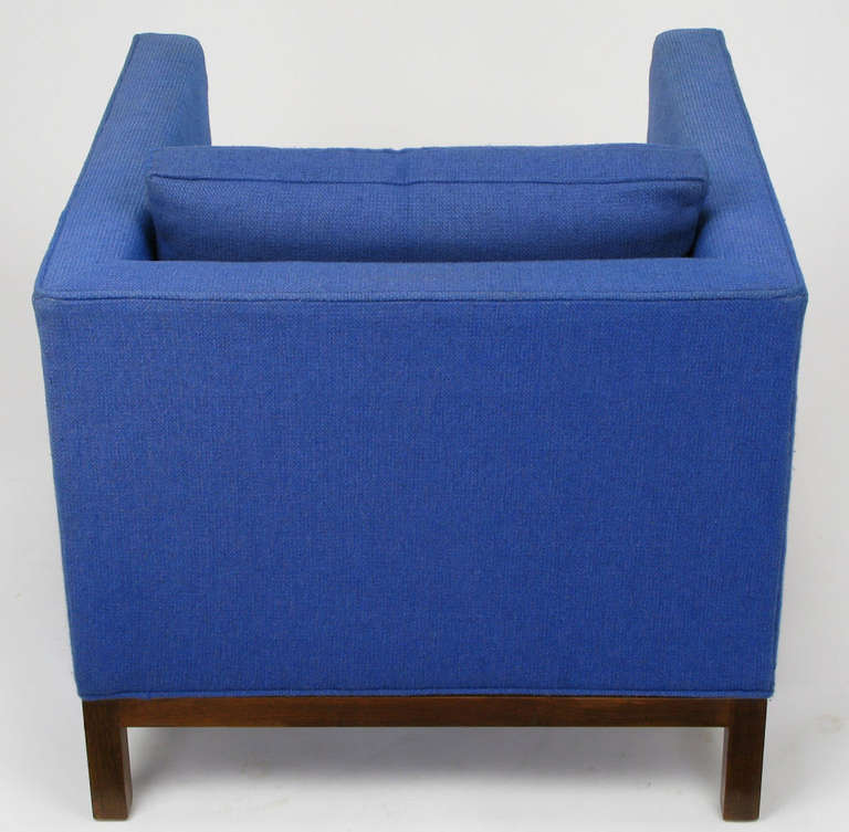 Wood Dunbar Cube Club Chair in Original Blue Wool and Walnut For Sale