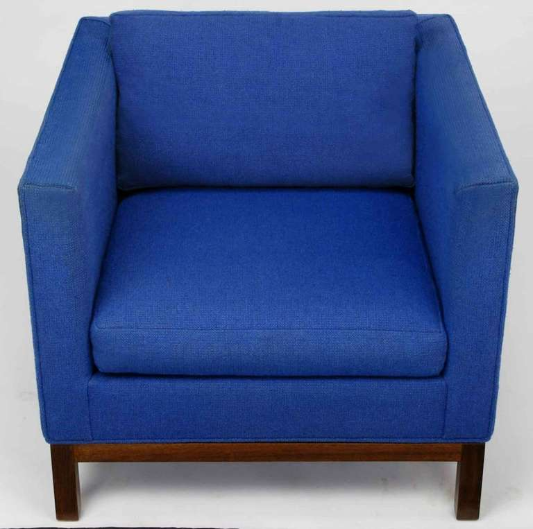 American Dunbar Cube Club Chair in Original Blue Wool and Walnut For Sale