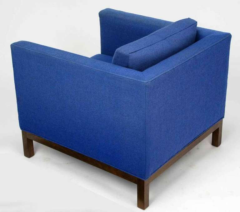 Mid-20th Century Dunbar Cube Club Chair in Original Blue Wool and Walnut For Sale
