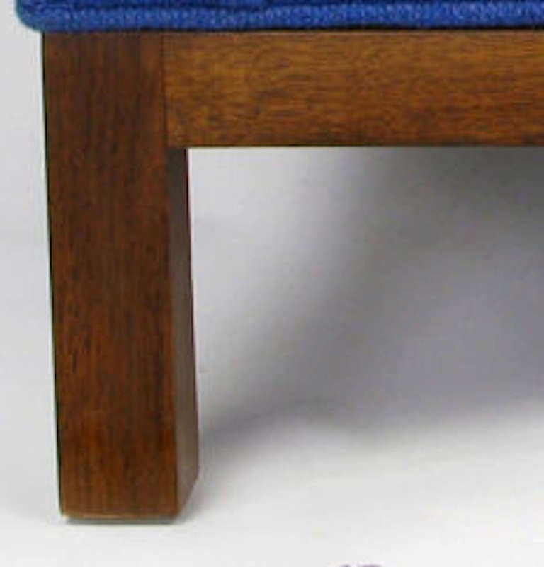 Dunbar Cube Club Chair in Original Blue Wool and Walnut For Sale 1