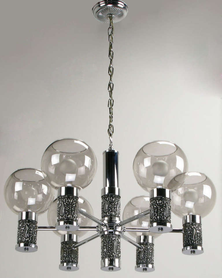 Mid-20th Century Chrome and Smoked Glass Chandelier with Foliate Relief Detail For Sale