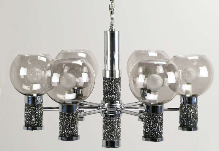 Chrome and Smoked Glass Chandelier with Foliate Relief Detail For Sale 1