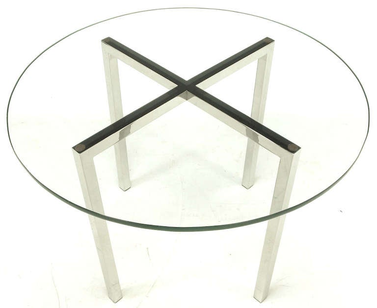 Round Chrome X-Base and Glass Dining Table 3
