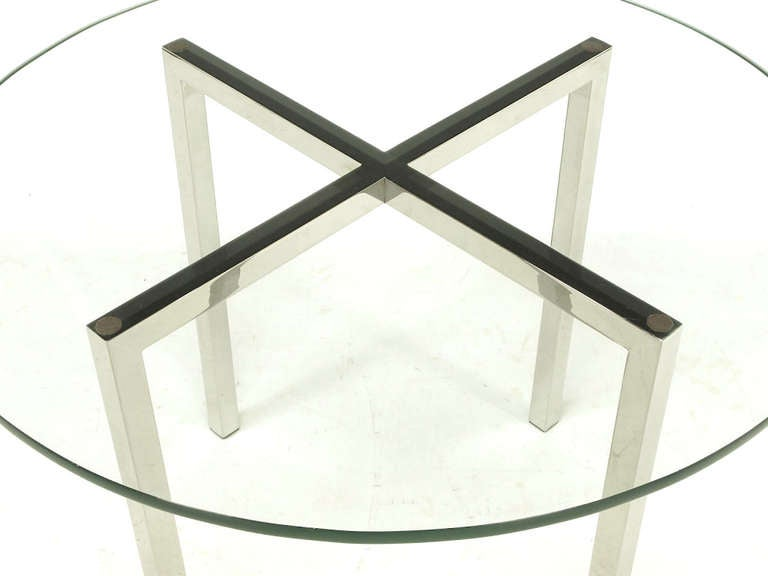 Round Chrome X-Base and Glass Dining Table 6