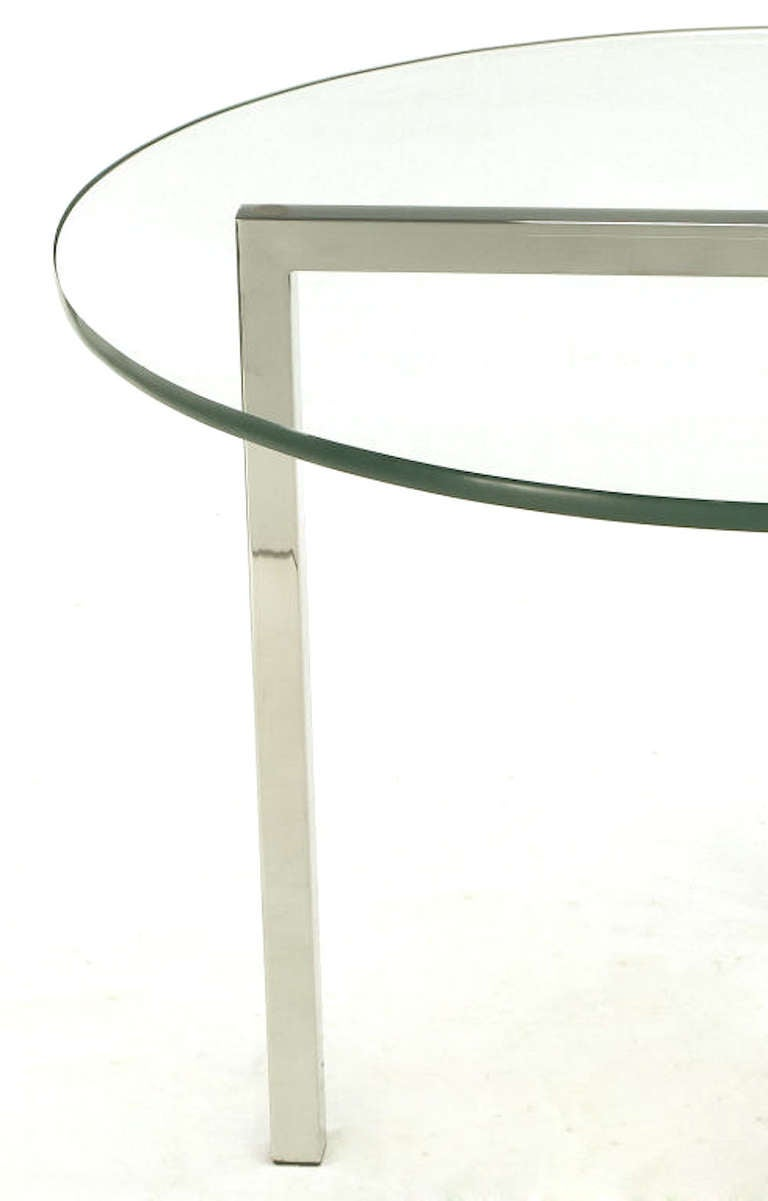 Round Chrome X-Base and Glass Dining Table 5