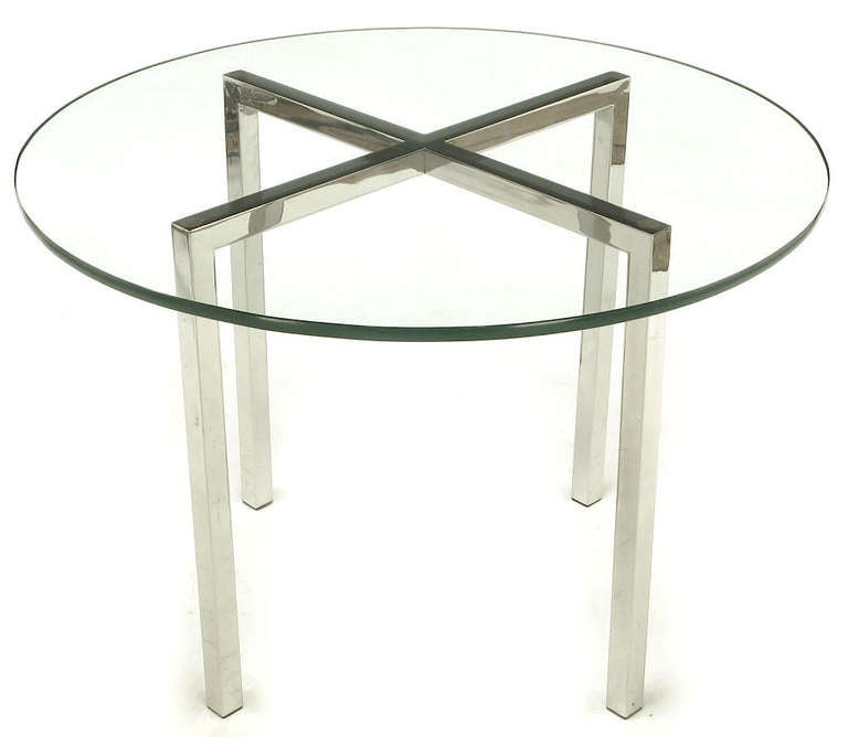 Round Chrome X-Base and Glass Dining Table 4