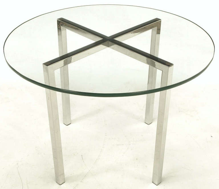 Round Chrome X-Base and Glass Dining Table 2