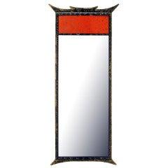 Parcel-Gilt Pagoda Style Enameled Panel Trumeau Mirror