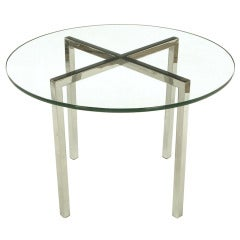 Round Chrome X-Base and Glass Dining Table