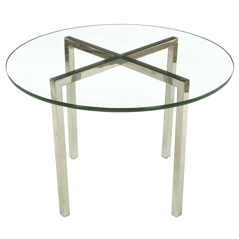 Round Chrome X-Base and Glass Dining Table 1