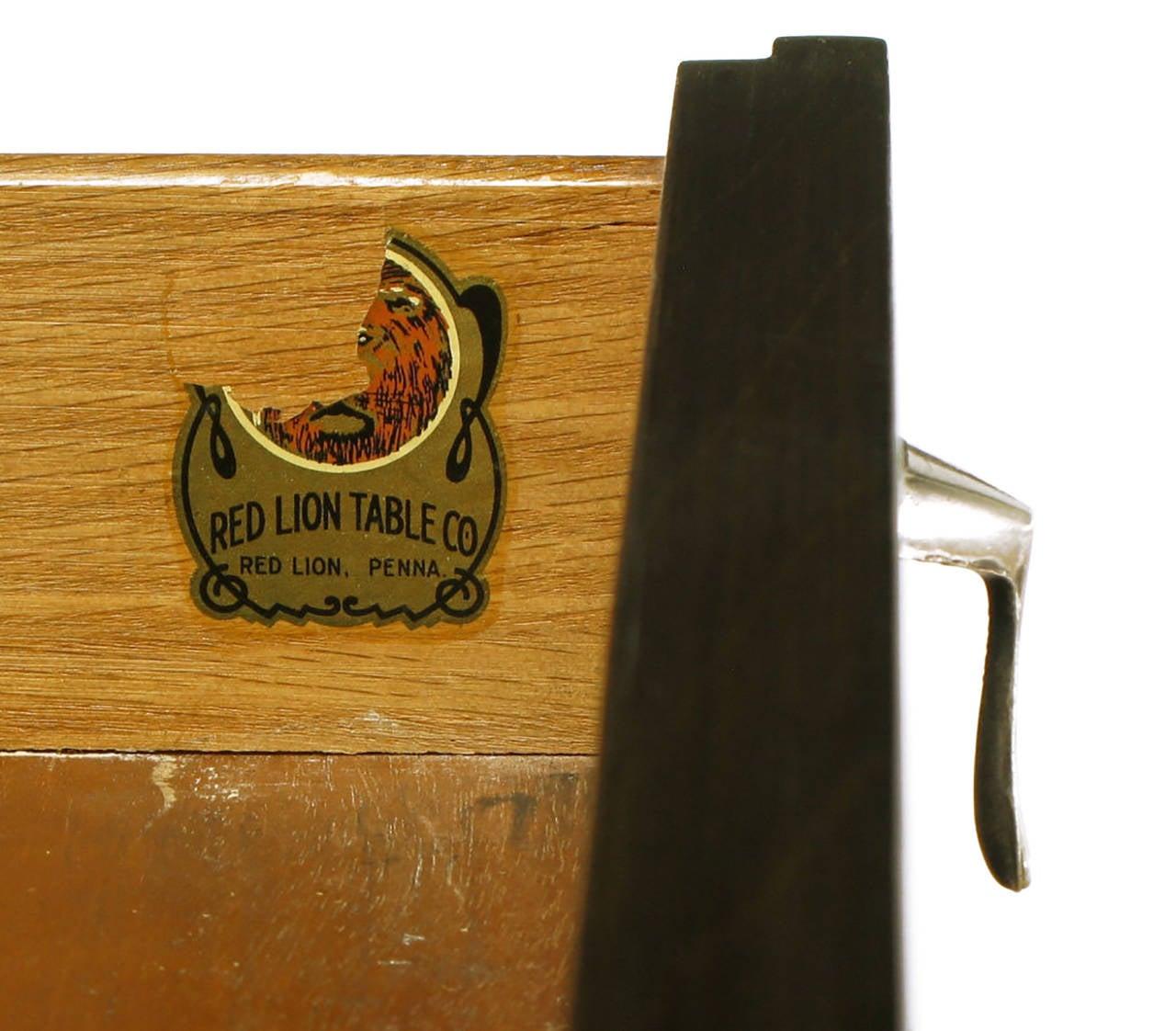 Pair of Red Lion Sleek 1950s Dark Walnut Nightstands For Sale 4