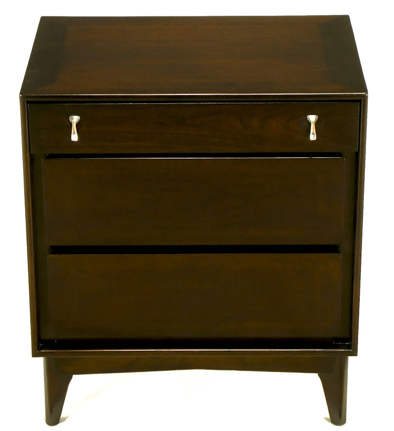 Pair of Red Lion Table Co. dark walnut three-drawer nightstands with sculpted and polished zinc pulls. Canted legs and recessed apron, refinished.