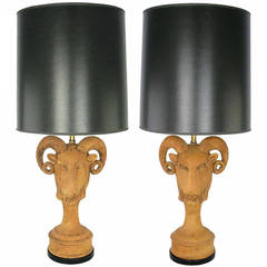 Pair of Italian Terracotta Ram's Head Table Lamps