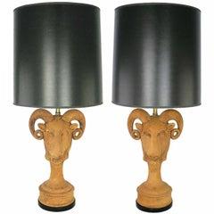 Pair of Italian Terracotta Ram's Head Table Lamps