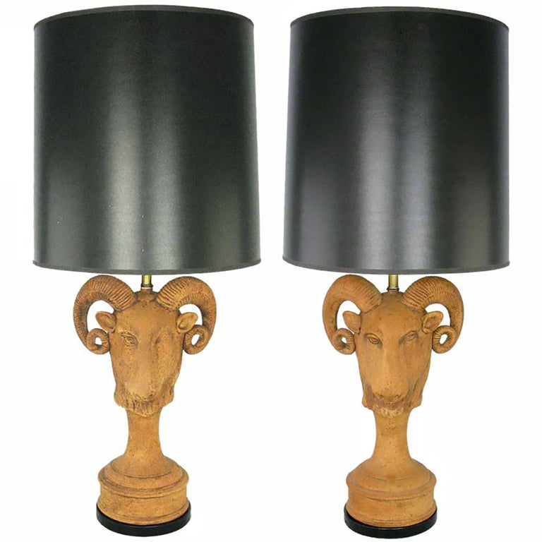 Pair of Italian Terracotta Ram's Head Table Lamps For Sale