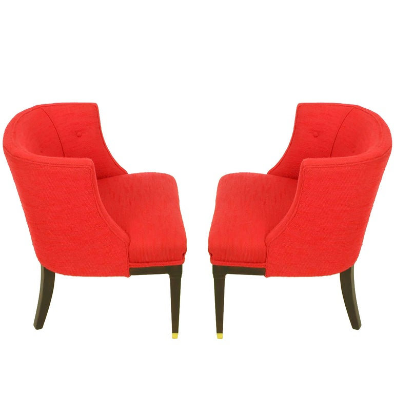 Pair of Button Tufted Red Wool and Dark Walnut Pull Up Wing Chairs For Sale