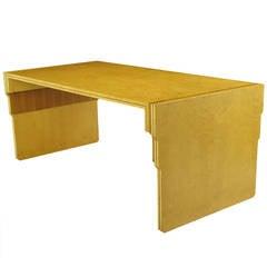 Pierre Paulin Bird's-Eye Maple and Walnut Parquetry Writing Table