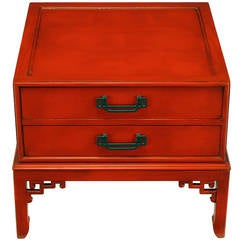 Hekman Cinnabar Lacquered and Glazed Two-Drawer Asian End Table