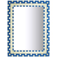 Reverse Sliver Leaf and Blue Glass Art Deco Inspired Mirror