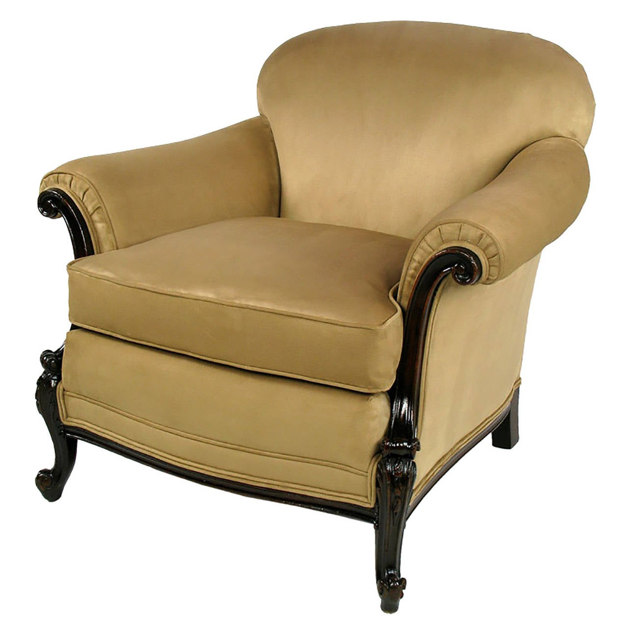Early 20th Century Rolled Arm Club Chair In Ultra Suede For Sale At 1stdibs