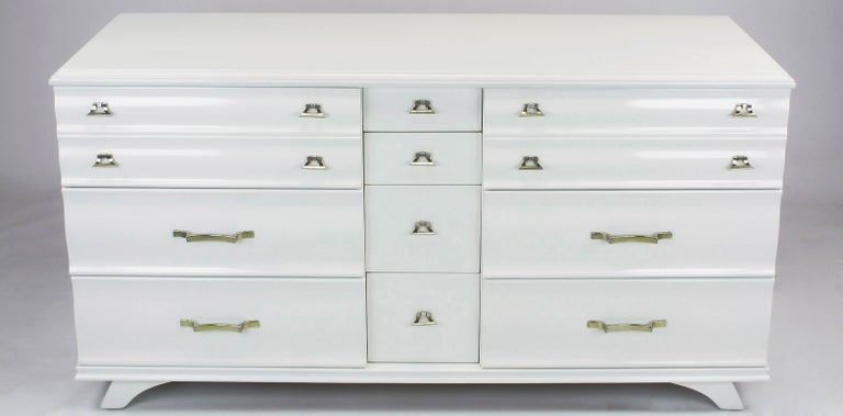 White Lacquer Fluted Front Dresser by Kling Furniture For Sale