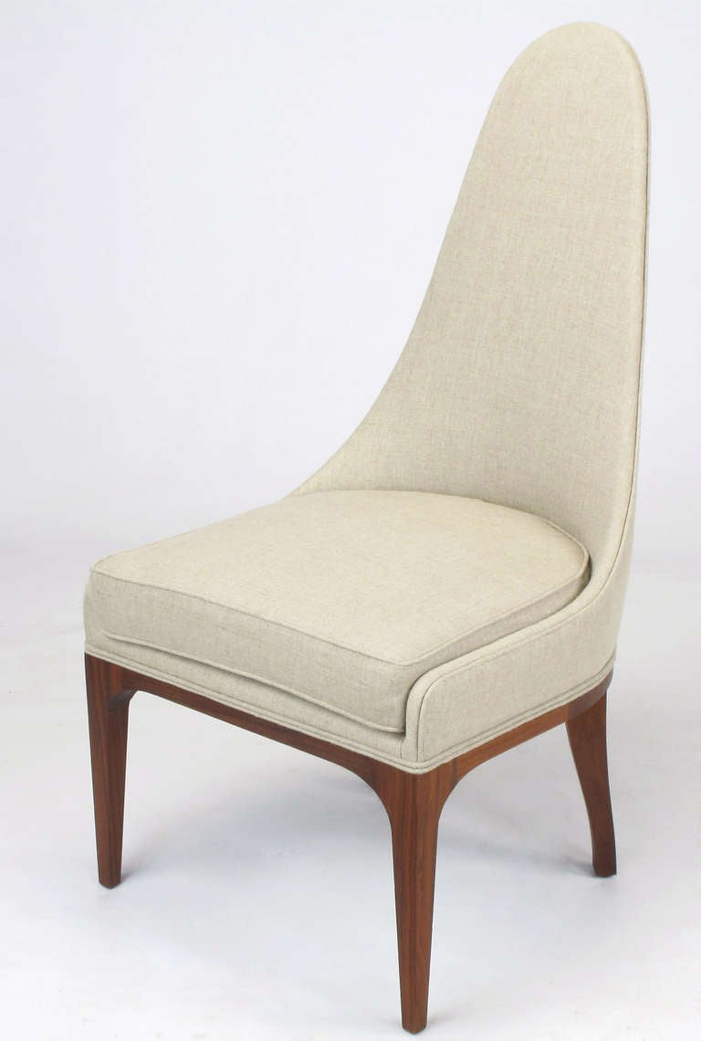 Set of Four Rosewood and Linen Spoon-Back Dining Chairs In Excellent Condition For Sale In Chicago, IL