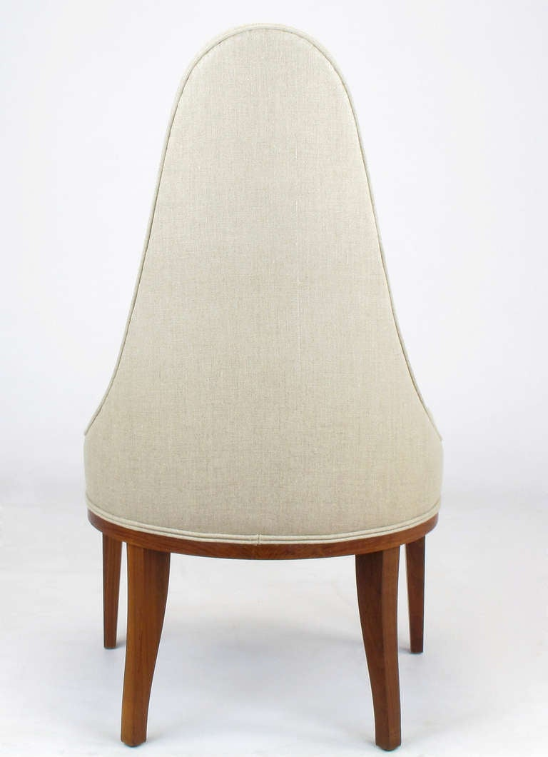 Set of Four Rosewood and Linen Spoon-Back Dining Chairs For Sale 1