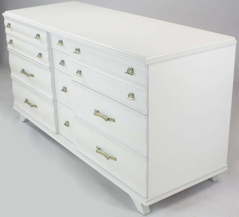 American White Lacquer Fluted Front Dresser by Kling Furniture For Sale