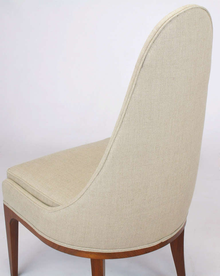 Set of Four Rosewood and Linen Spoon-Back Dining Chairs For Sale 2