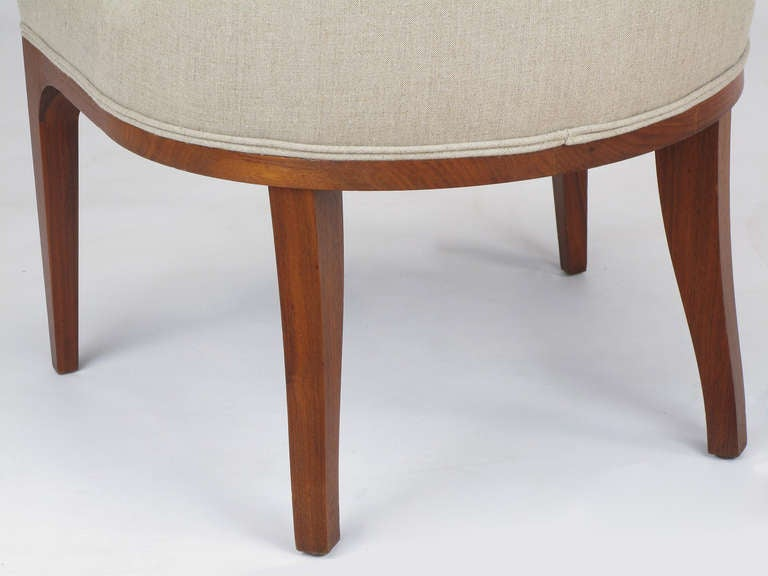 Set of Four Rosewood and Linen Spoon-Back Dining Chairs For Sale 5