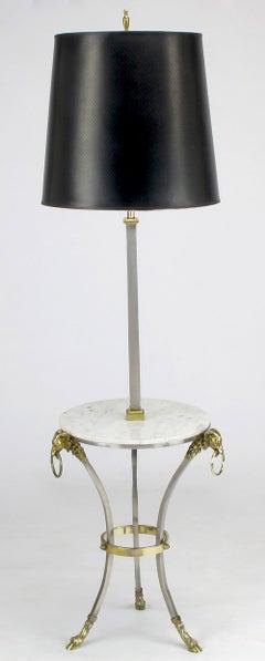 Nickel & Brass Rams Head & Hooved Floor Lamp with Carrera Marble Table Top