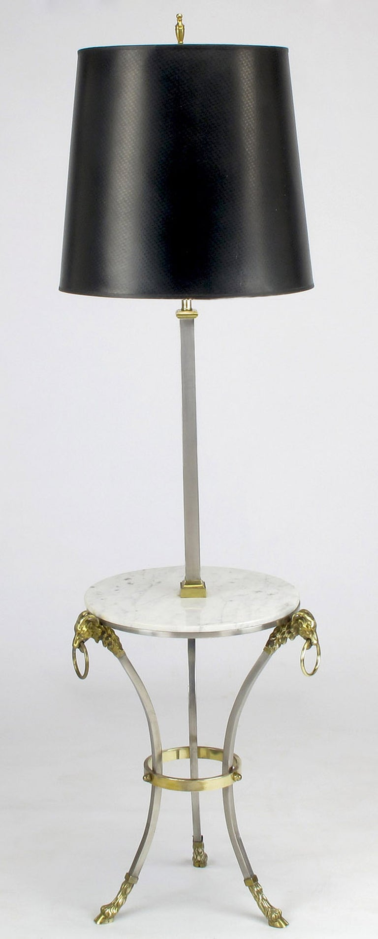 Nickel & Brass Rams Head & Hooved Floor Lamp with Carrera Marble Table Top For Sale